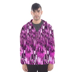 Funky Chevron Hot Pink Hooded Wind Breaker (men) by MoreColorsinLife