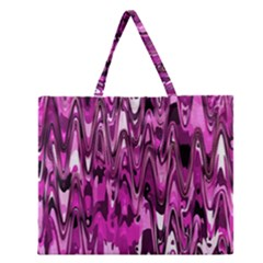 Funky Chevron Hot Pink Zipper Large Tote Bag