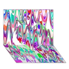 Funky Chevron Multicolor Heart 3d Greeting Card (7x5)
