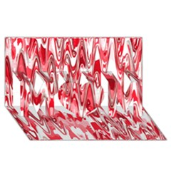 Funky Chevron Red Mom 3d Greeting Card (8x4)