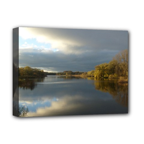 View   On The Lake Deluxe Canvas 16  X 12   by Costasonlineshop