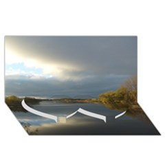 View   On The Lake Twin Heart Bottom 3d Greeting Card (8x4)  by Costasonlineshop