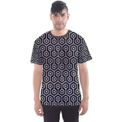 Hexagon1 Black Marble & Silver Brushed Metal Men s Sports Mesh Tee by trendistuff