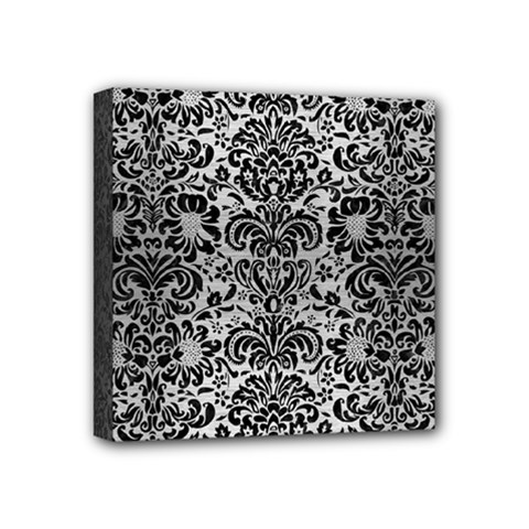Damask2 Black Marble & Silver Brushed Metal (r) Mini Canvas 4  X 4  (stretched) by trendistuff