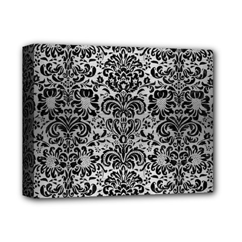 Damask2 Black Marble & Silver Brushed Metal (r) Deluxe Canvas 14  X 11  (stretched) by trendistuff