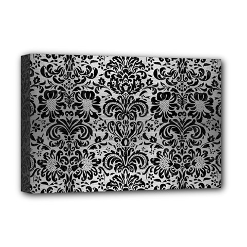Damask2 Black Marble & Silver Brushed Metal (r) Deluxe Canvas 18  X 12  (stretched) by trendistuff
