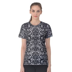 Damask2 Black Marble & Silver Brushed Metal (r) Women s Cotton Tee by trendistuff