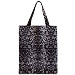 Damask2 Black Marble & Silver Brushed Metal (r) Zipper Classic Tote Bag by trendistuff