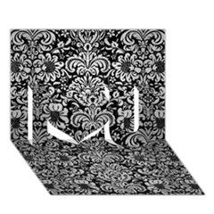 Damask2 Black Marble & Silver Brushed Metal I Love You 3d Greeting Card (7x5) by trendistuff