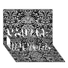Damask2 Black Marble & Silver Brushed Metal You Are Invited 3d Greeting Card (7x5)