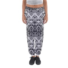 Damask1 Black Marble & Silver Brushed Metal (r) Women s Jogger Sweatpants by trendistuff