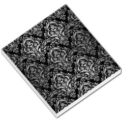 Damask1 Black Marble & Silver Brushed Metal Small Memo Pads by trendistuff