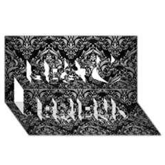 Damask1 Black Marble & Silver Brushed Metal Best Friends 3d Greeting Card (8x4)