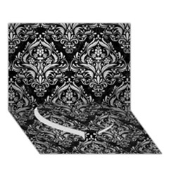 Damask1 Black Marble & Silver Brushed Metal Heart Bottom 3d Greeting Card (7x5) by trendistuff