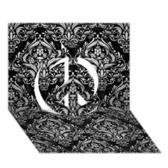 Damask1 Black Marble & Silver Brushed Metal Peace Sign 3d Greeting Card (7x5) by trendistuff