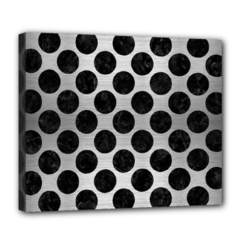 Circles2 Black Marble & Silver Brushed Metal (r) Deluxe Canvas 24  X 20  (stretched) by trendistuff