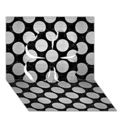 Circles2 Black Marble & Silver Brushed Metal Clover 3d Greeting Card (7x5) by trendistuff