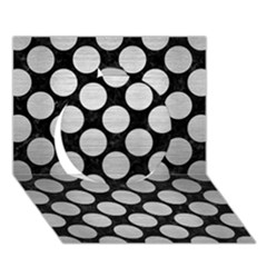 Circles2 Black Marble & Silver Brushed Metal Circle 3d Greeting Card (7x5) by trendistuff