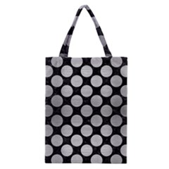 Circles2 Black Marble & Silver Brushed Metal Classic Tote Bag by trendistuff