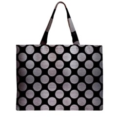 Circles2 Black Marble & Silver Brushed Metal Zipper Mini Tote Bag by trendistuff