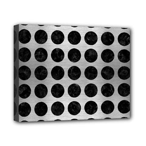 Circles1 Black Marble & Silver Brushed Metal (r) Canvas 10  X 8  (stretched) by trendistuff