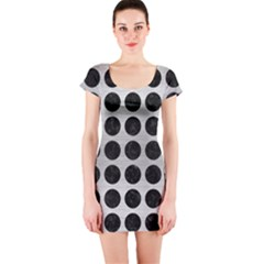 Circles1 Black Marble & Silver Brushed Metal (r) Short Sleeve Bodycon Dress