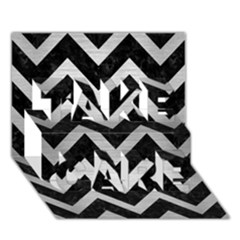 Chevron9 Black Marble & Silver Brushed Metal Take Care 3d Greeting Card (7x5)