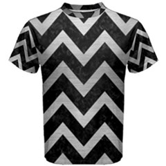 Chevron9 Black Marble & Silver Brushed Metal Men s Cotton Tee by trendistuff