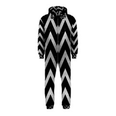 Chevron9 Black Marble & Silver Brushed Metal Hooded Jumpsuit (kids)
