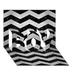 Chevron3 Black Marble & Silver Brushed Metal Boy 3d Greeting Card (7x5) by trendistuff