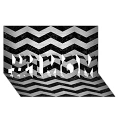 Chevron3 Black Marble & Silver Brushed Metal #1 Mom 3d Greeting Cards (8x4)