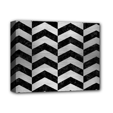 Chevron2 Black Marble & Silver Brushed Metal Deluxe Canvas 14  X 11  (stretched) by trendistuff