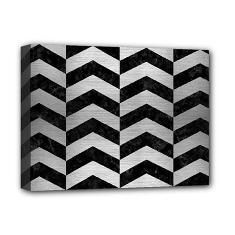 Chevron2 Black Marble & Silver Brushed Metal Deluxe Canvas 16  X 12  (stretched)  by trendistuff