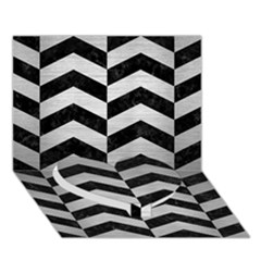 Chevron2 Black Marble & Silver Brushed Metal Heart Bottom 3d Greeting Card (7x5) by trendistuff
