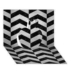 Chevron2 Black Marble & Silver Brushed Metal Apple 3d Greeting Card (7x5) by trendistuff