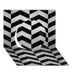 Chevron2 Black Marble & Silver Brushed Metal Circle 3d Greeting Card (7x5) by trendistuff