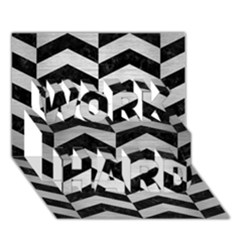 Chevron2 Black Marble & Silver Brushed Metal Work Hard 3d Greeting Card (7x5) by trendistuff