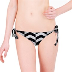 Chevron2 Black Marble & Silver Brushed Metal Bikini Bottom by trendistuff