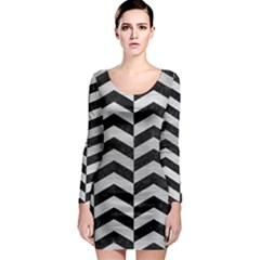 Chevron2 Black Marble & Silver Brushed Metal Long Sleeve Bodycon Dress