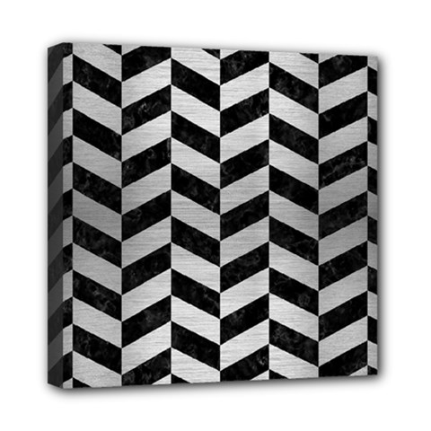 Chevron1 Black Marble & Silver Brushed Metal Mini Canvas 8  X 8  (stretched) by trendistuff