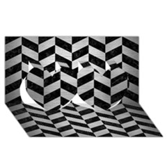 Chevron1 Black Marble & Silver Brushed Metal Twin Hearts 3d Greeting Card (8x4) by trendistuff