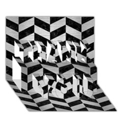 Chevron1 Black Marble & Silver Brushed Metal Thank You 3d Greeting Card (7x5)