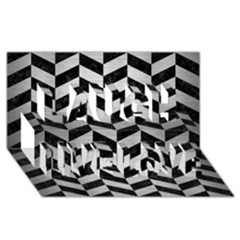 Chevron1 Black Marble & Silver Brushed Metal Laugh Live Love 3d Greeting Card (8x4) by trendistuff
