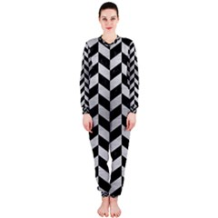 Chevron1 Black Marble & Silver Brushed Metal Onepiece Jumpsuit (ladies) by trendistuff
