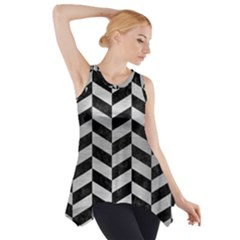 Chevron1 Black Marble & Silver Brushed Metal Side Drop Tank Tunic