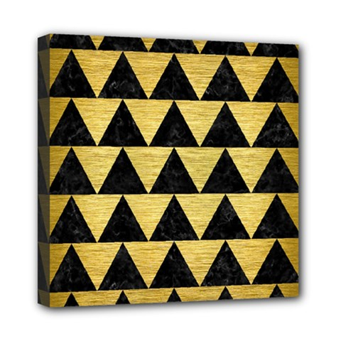 Triangle2 Black Marble & Gold Brushed Metal Mini Canvas 8  X 8  (stretched) by trendistuff