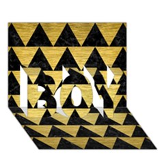 Triangle2 Black Marble & Gold Brushed Metal Boy 3d Greeting Card (7x5) by trendistuff