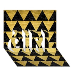 Triangle2 Black Marble & Gold Brushed Metal Girl 3d Greeting Card (7x5) by trendistuff