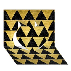 Triangle2 Black Marble & Gold Brushed Metal Heart 3d Greeting Card (7x5) by trendistuff