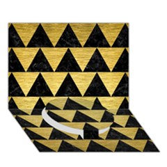 Triangle2 Black Marble & Gold Brushed Metal Circle Bottom 3d Greeting Card (7x5)